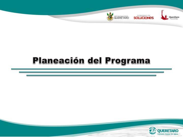 Planeación del Programa