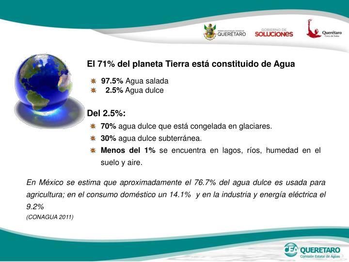 El 71% del planeta Tierra está constituido de