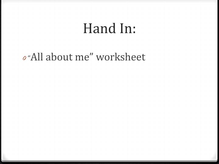 Hand In: