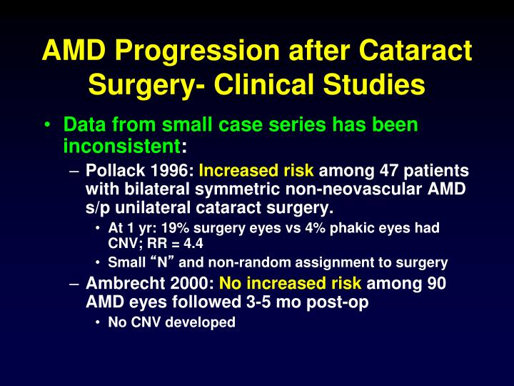 AMD Progression after Cataract Surgery- Clinical Studies