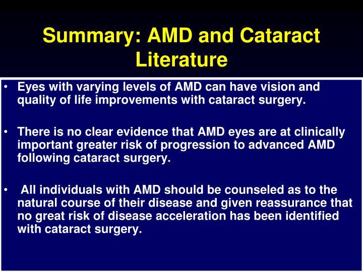 Summary: AMD and Cataract Literature