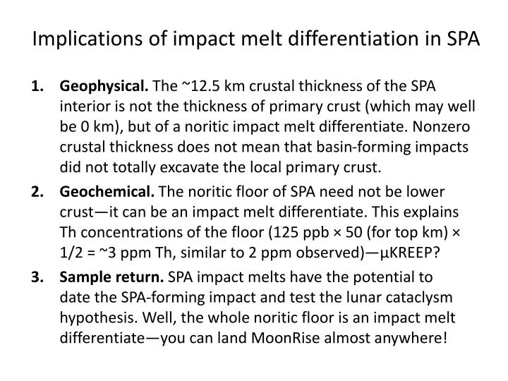Implications of impact melt differentiation in SPA