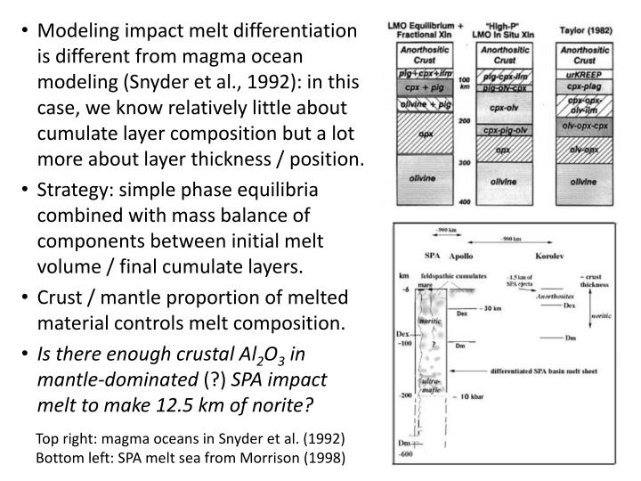Modeling impact melt differentiation is different from magma ocean modeling (Snyder et al., 1992): in this case, we know relatively little about cumulate layer composition but a lot more about layer thickness / position.