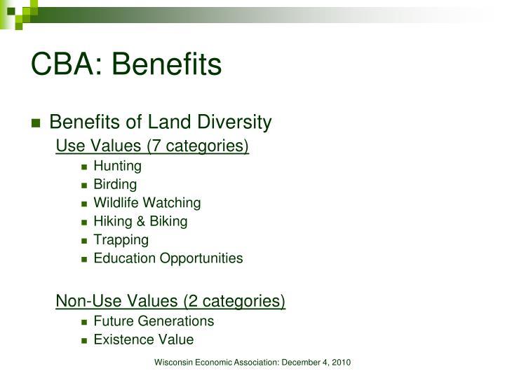 CBA: Benefits