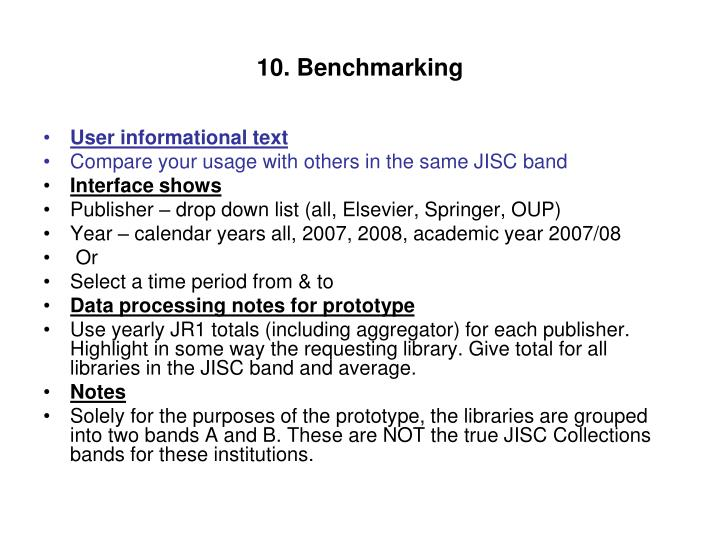 10. Benchmarking