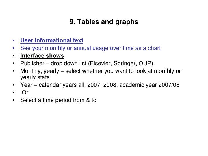9. Tables and graphs