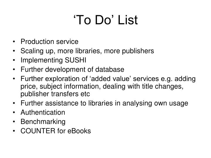 'To Do' List