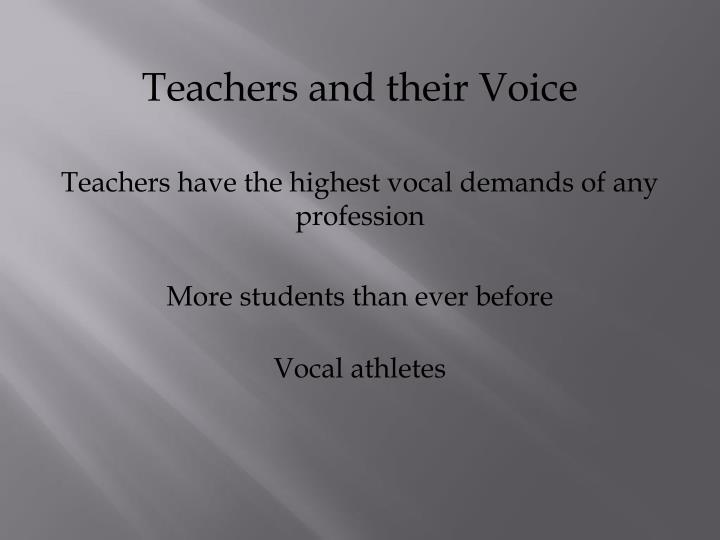 Teachers and their Voice