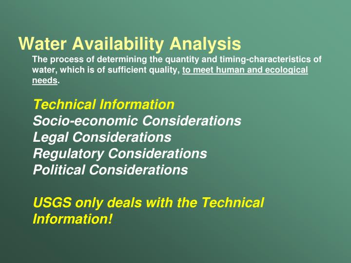 Water Availability Analysis