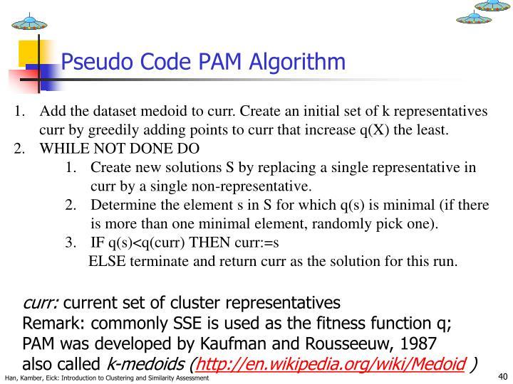Pseudo Code PAM Algorithm
