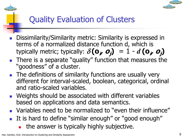 Quality Evaluation of Clusters