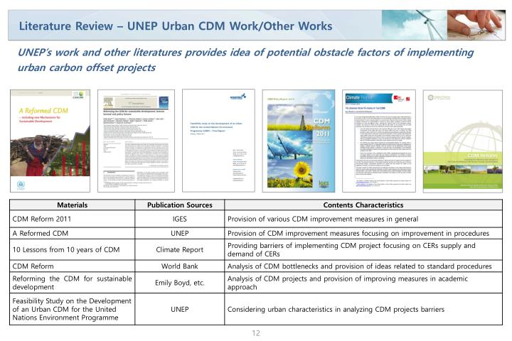Literature Review – UNEP Urban CDM