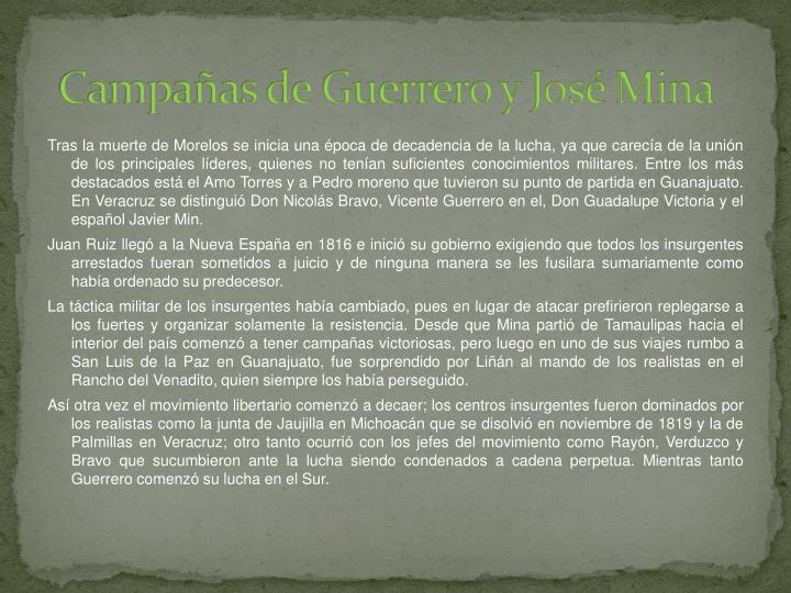 Campañas de Guerrero y José Mina