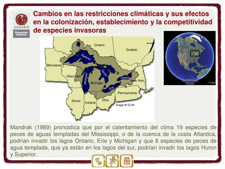 Cambios en las restricciones climáticas y sus efectos