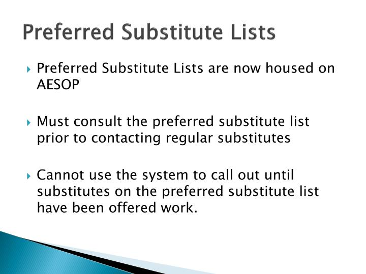 Preferred substitute lists1