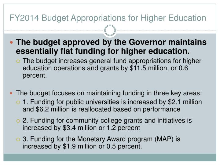 FY2014 Budget Appropriations for Higher Education