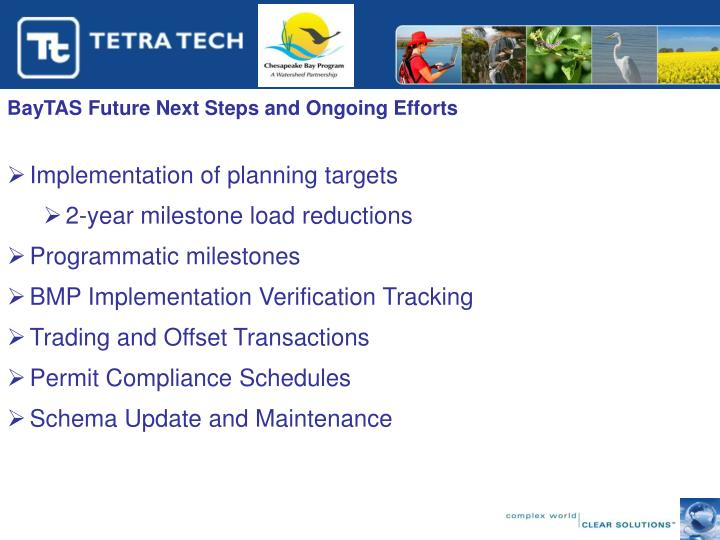 BayTAS Future Next Steps and Ongoing Efforts
