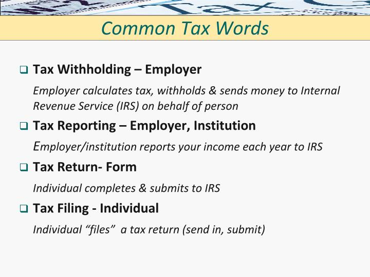 Common Tax Words