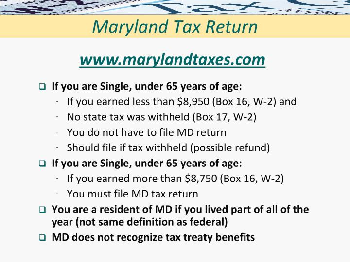 Maryland Tax Return