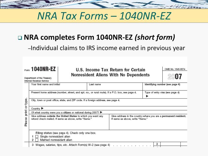 NRA Tax Forms – 1040NR-EZ
