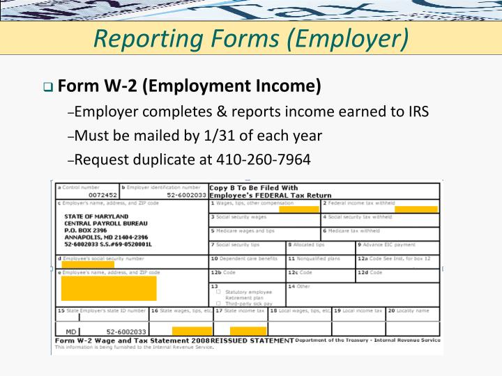 Reporting Forms (Employer)