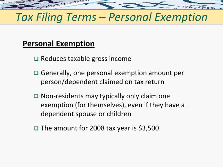Tax Filing Terms – Personal Exemption