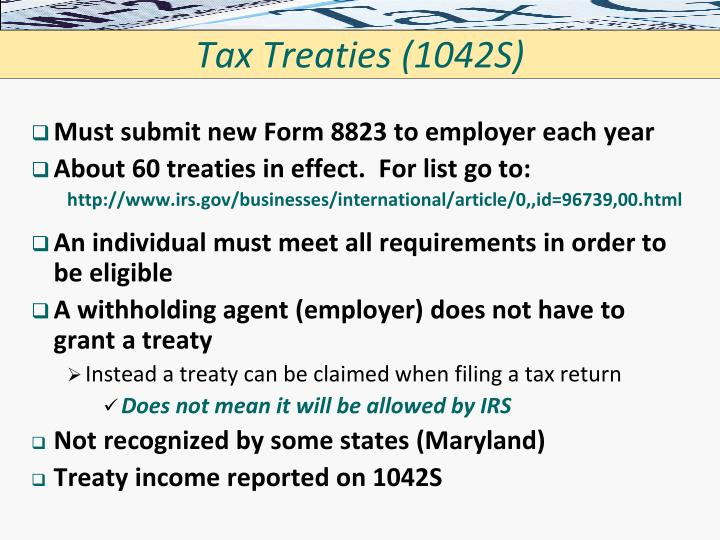 Tax Treaties (1042S)
