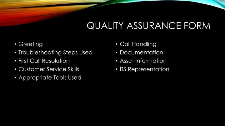 Quality Assurance Form