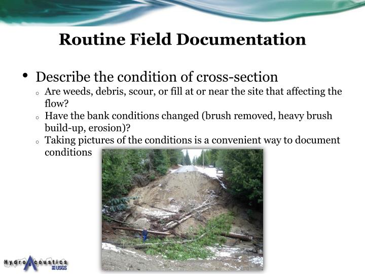 Routine Field Documentation