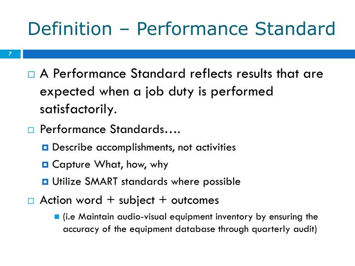 Definition – Performance Standard