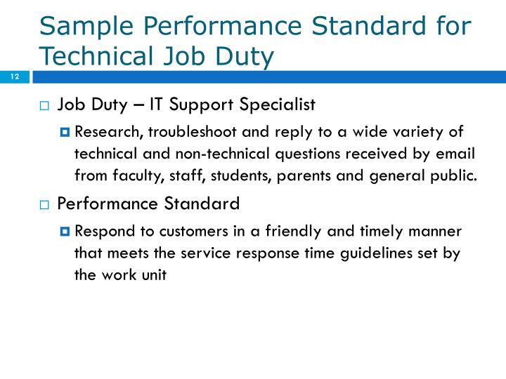 Sample Performance Standard for Technical Job Duty