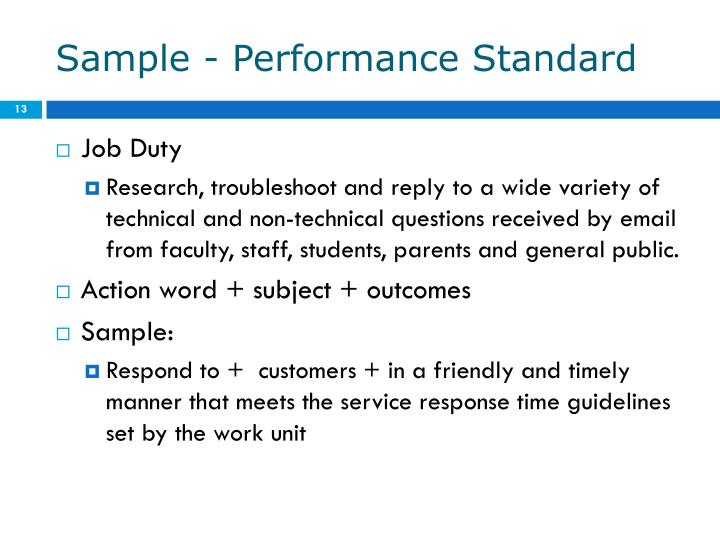 Sample - Performance Standard