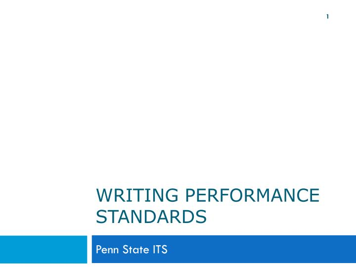 Writing performance standards