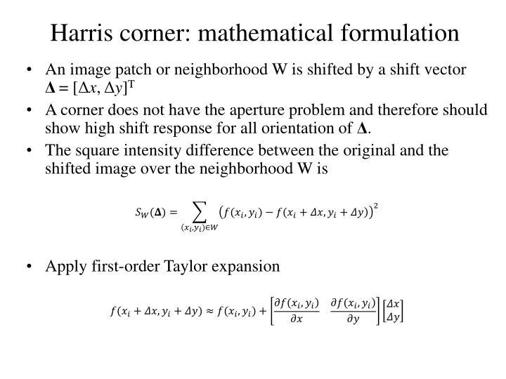 Harris corner: mathematical formulation