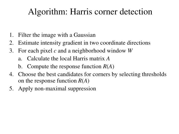 Algorithm: Harris corner detection