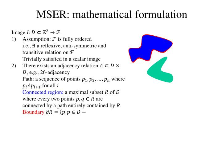 MSER: mathematical formulation