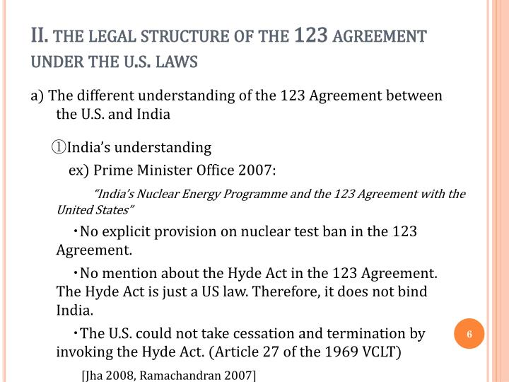 II. the legal structure of the 123 agreement under the
