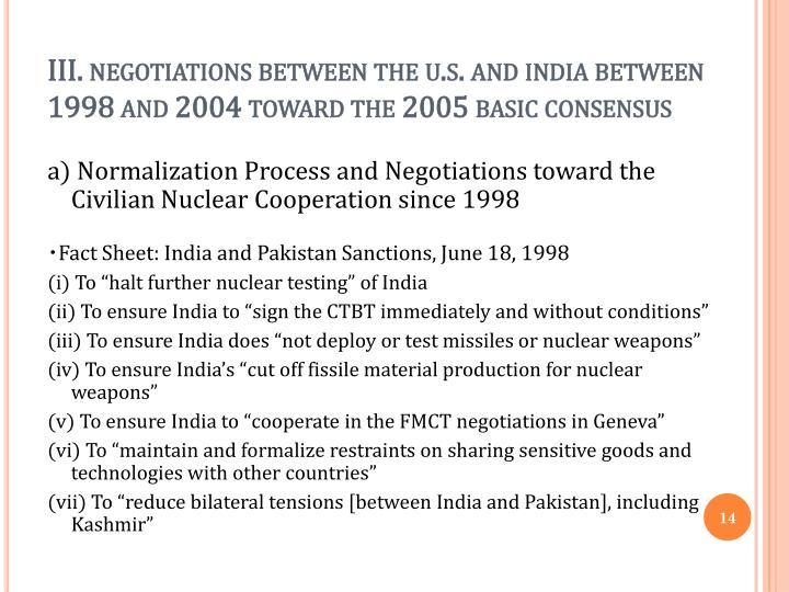 III. negotiations between the