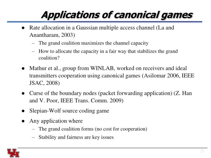 Applications of canonical games