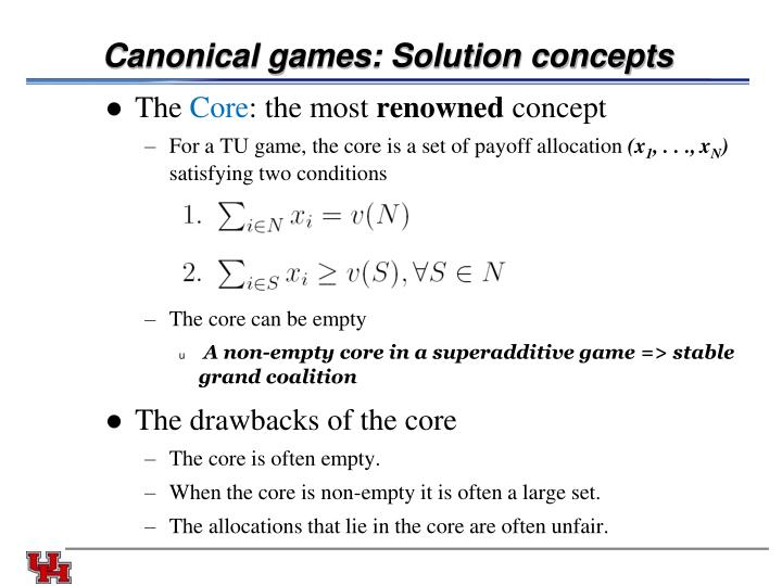 Canonical games: Solution concepts