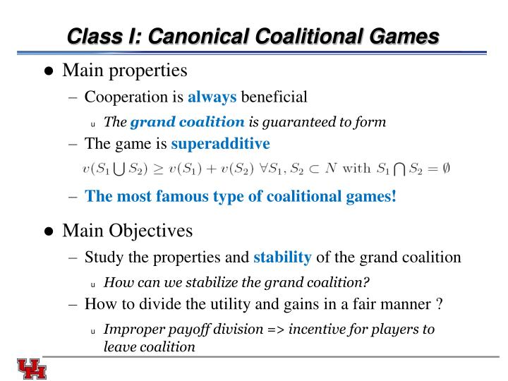 Class I: Canonical Coalitional Games
