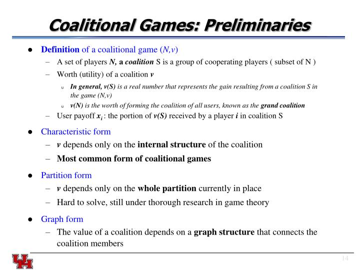 Coalitional Games: Preliminaries