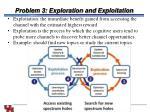 problem 3 exploration and exploitation