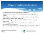 critiques of free schools and academies