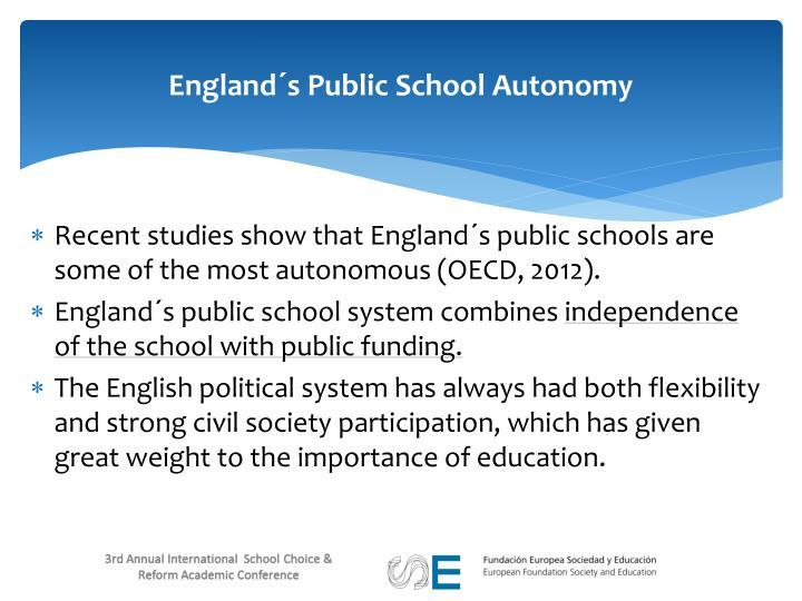 England´s Public School Autonomy