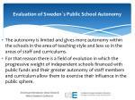 evaluation of sweden s public school autonomy