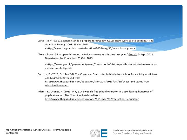 3rd Annual International  School Choice & Reform Academic Conference