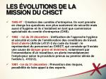 les volutions de la mission du chsct1