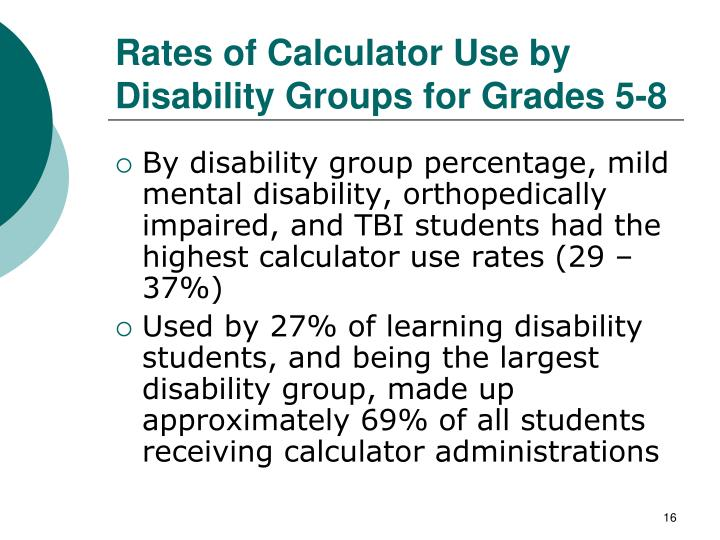 Rates of Calculator Use by Disability Groups for Grades 5-8