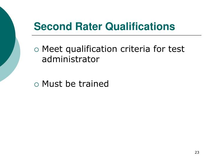 Second Rater Qualifications